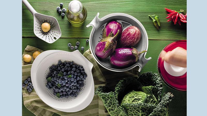 ALL-IN Küchen- Abtropfsieb Einfaches Abgießen_ Küchen- Abtropfsieb Set SPIN&DRAIN mit Behälter