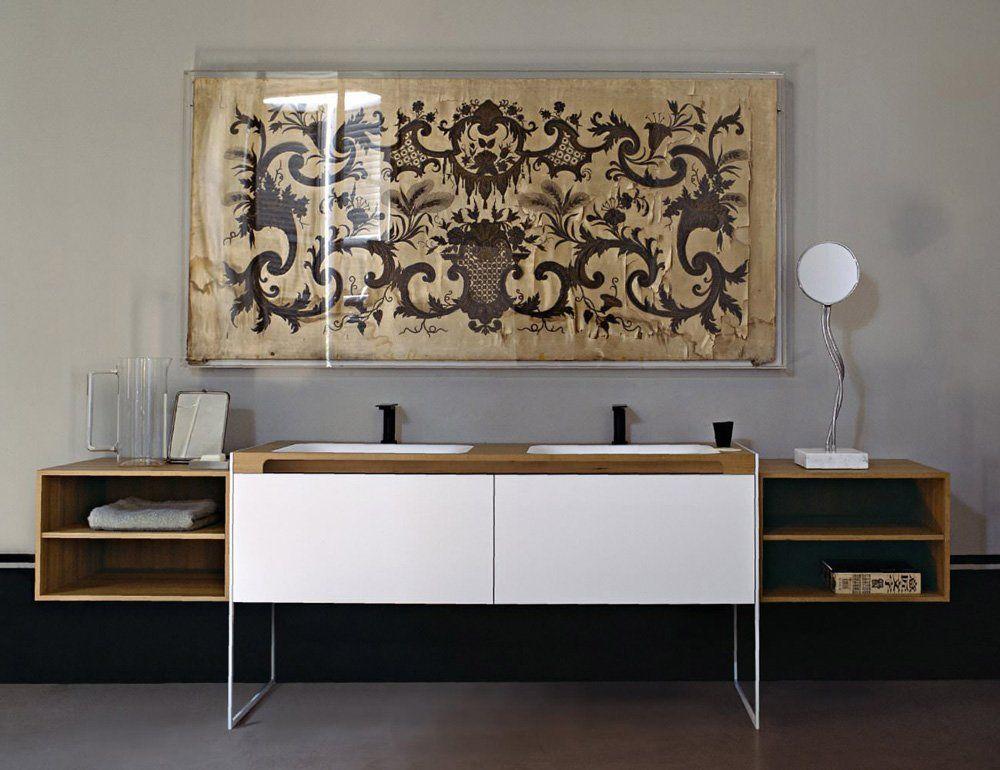 Composizione Flat XL [a] - Piano in teak, lavabi Ottocento 001