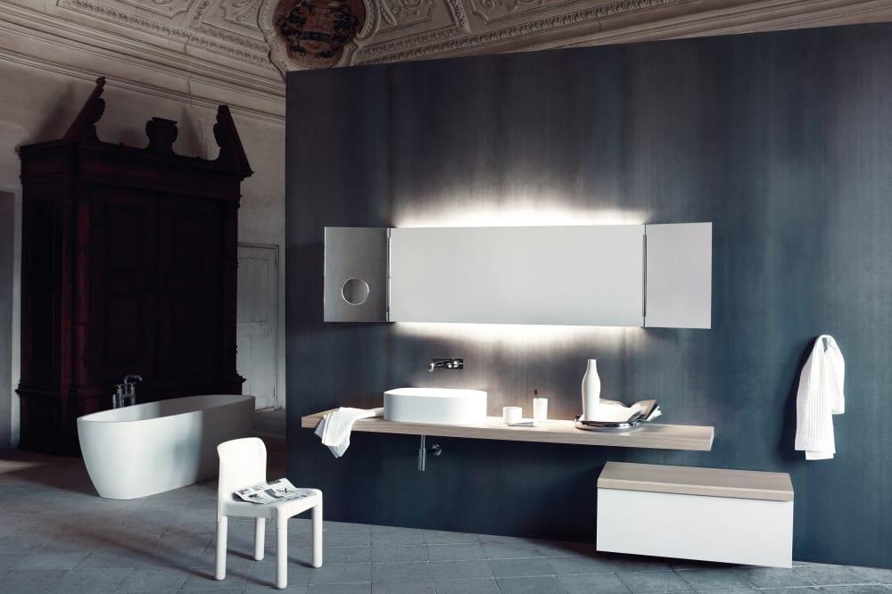 Composizione Flat XL [b] - Piano in rovere chiaro, lavabo LAV 002