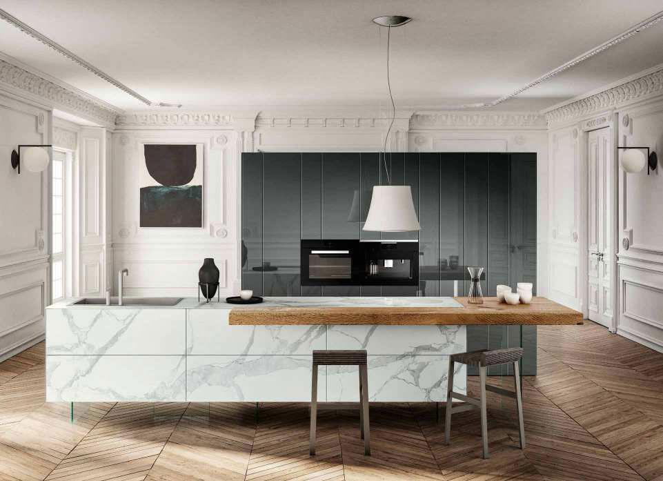 Cucina 36e8 marble xglass da lago designbest for Cucine lago immagini