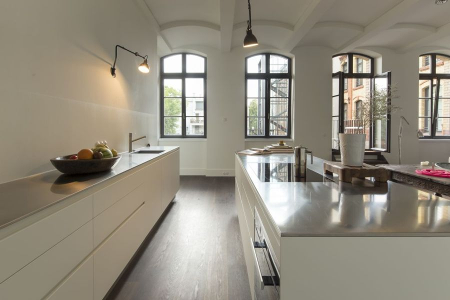 The streamlined kitchen of an old dairy plant in Berlin